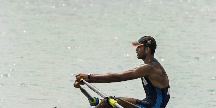 Indian rower Dattu Baban Bhokanal looks disappointed after finishing 5th in the men's singles sculls final at the Asian Games in Palembang
