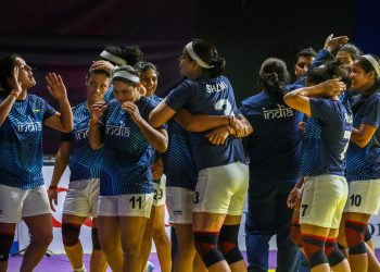 Indian women's kabaddi team celebrate as they enter their third successive finals at an Asian Games after they beat Chinese Taipei