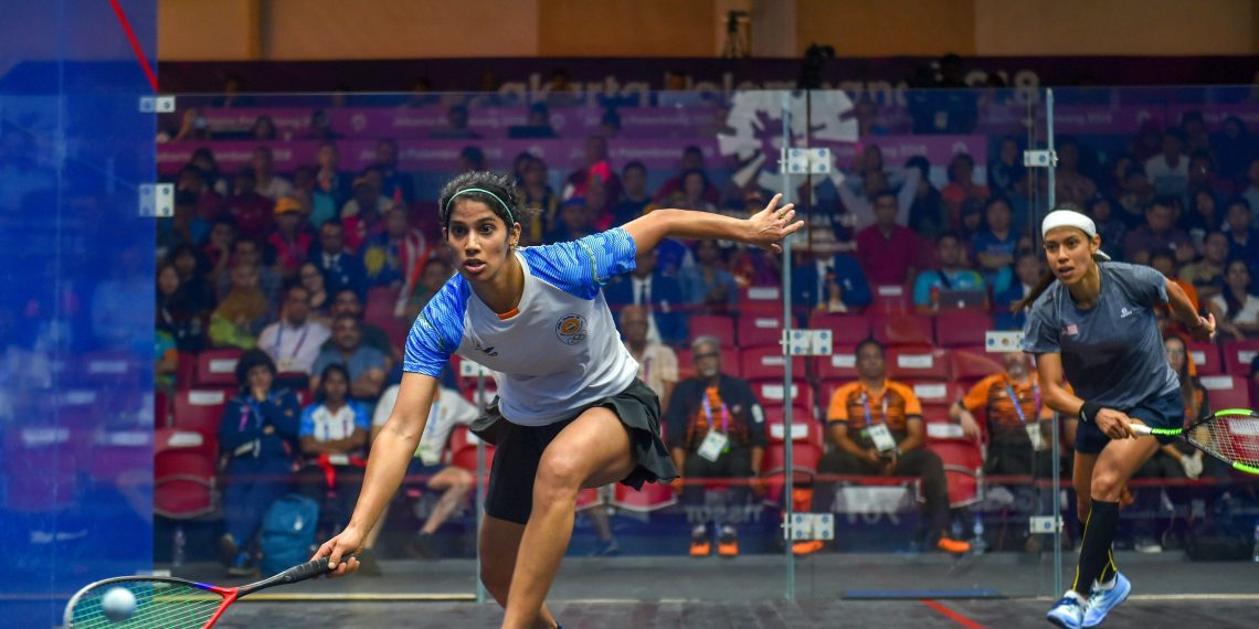 Joshna Chinappa in action against Nicole David in the squash team event semifinals, Friday