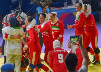 The victorious Iranian women's kabaddi team celebrate their win over India