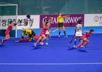 Japanese players celebrate after scoring a goal against India in the women's hockey final match at the Asian Games