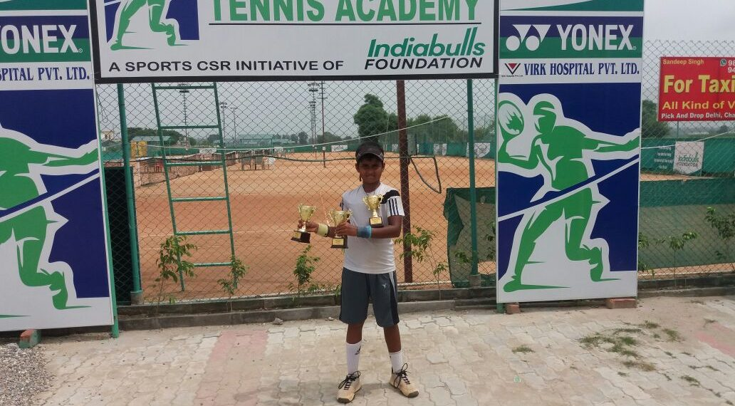 Sohini Mohanty poses with her trophies at Haryana, Friday