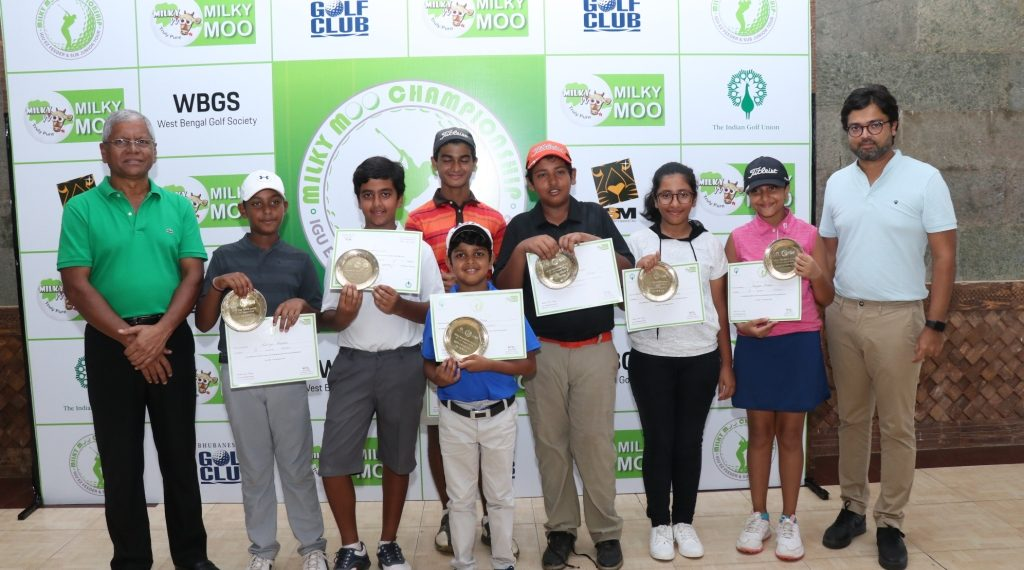 Winners of various segments in the Milky Moo Odisha Juniors golf tournament pose with their trophies and certificates along with dignitaries at the Bhubaneswar Golf Club, Saturday. Srikumar Misra, founder of Milk Mantra is to the extreme right