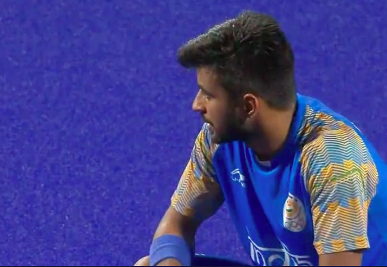 A dejected Manpreet Singh after the loss against Malaysia in the semifinals