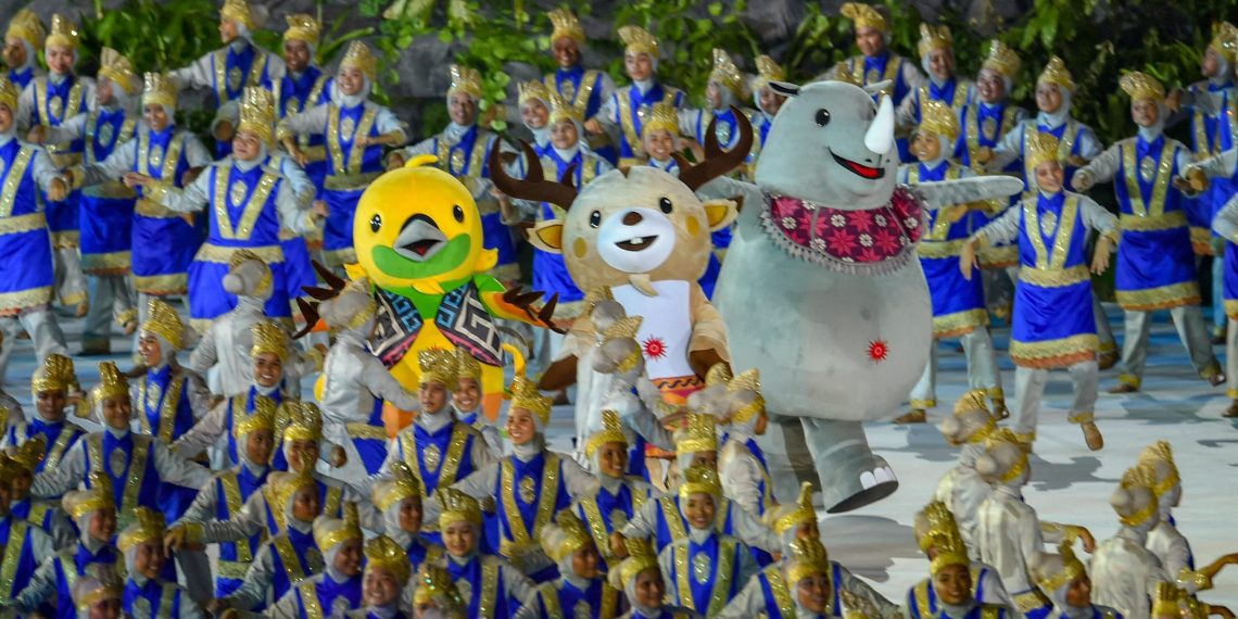Official mascots during the opening ceremony of Asian Games 2018 at Gelora Bung Karno, in Jakarta on Saturday
