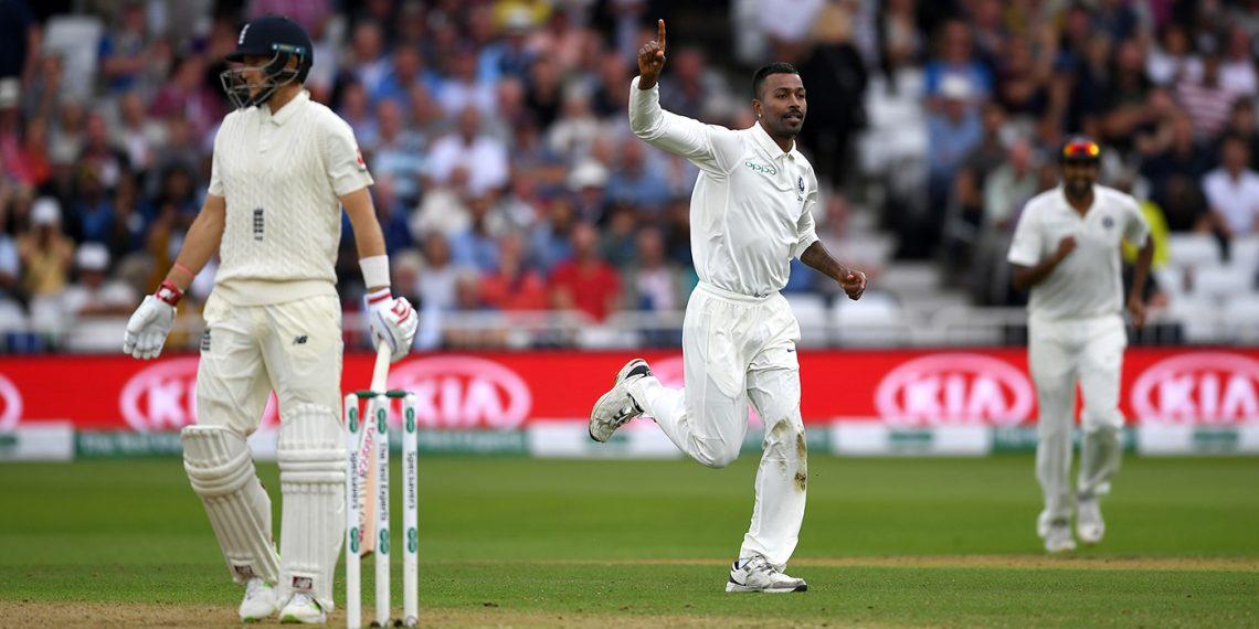 Hardik Pandya celebrates after removing England skipper Joe Root at the Trent Bridge, Sunday