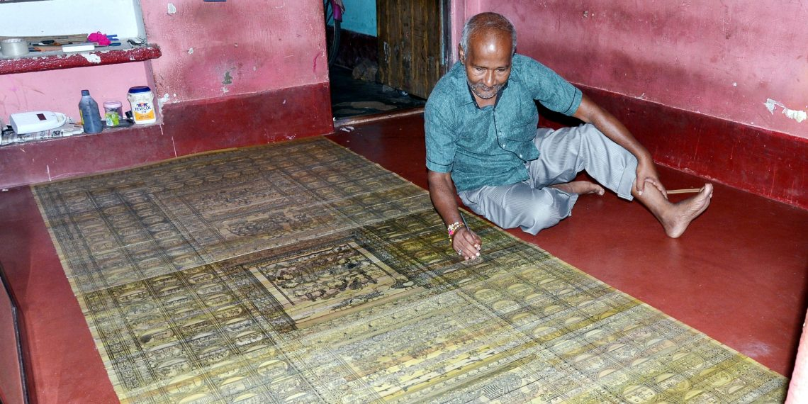 painting, Krishnaleela comes alive in massive palm leaf painting