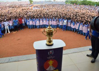 A large number of KISS students were present during the unveiling of the Rugby World Cup trophy, Friday