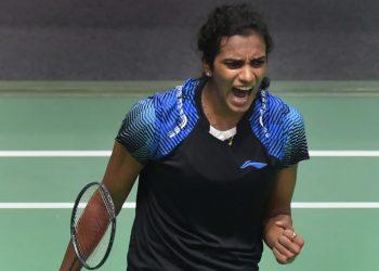Indian shuttler PV Sindhu exults after winning the women's singles 2nd semifinal match against Japan's Akane Yamaguchi