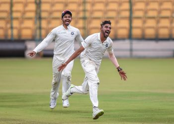 Mohammed Siraj celebrates after dismissing a Proteas batsman in Bangalore, Tuesday