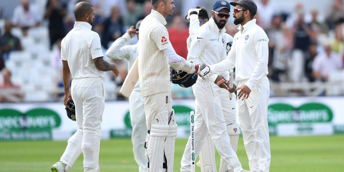 India captain Virat Kohli (R) shakes hand with England's James Anderson after completing the victory in the third Test at Trent Bridge, Wednesday
