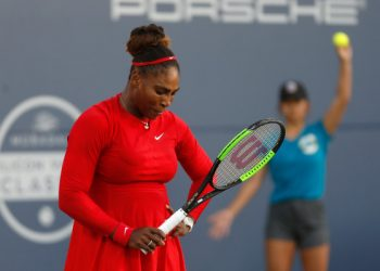Serena Williams wears a dejected look as she heads to her career's worst loss, in a match against Johanna Konta, Tuesday