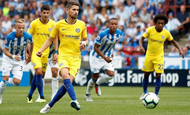 Jorginho strikes the ball from penalty spot to score his first goal for Chelsea on his Premier League debut against Huddersfield Town, Saturday
