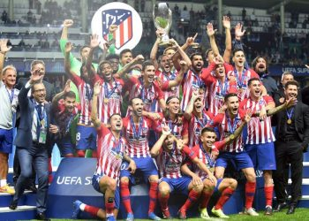 The victorious Atletico Madrid team