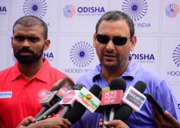 Captain of the Indian hockey team PR Sreejesh (L) and coach Harendra Singh talk with the media at Kalinga Stadium in Bhubaneswar, Wednesday
