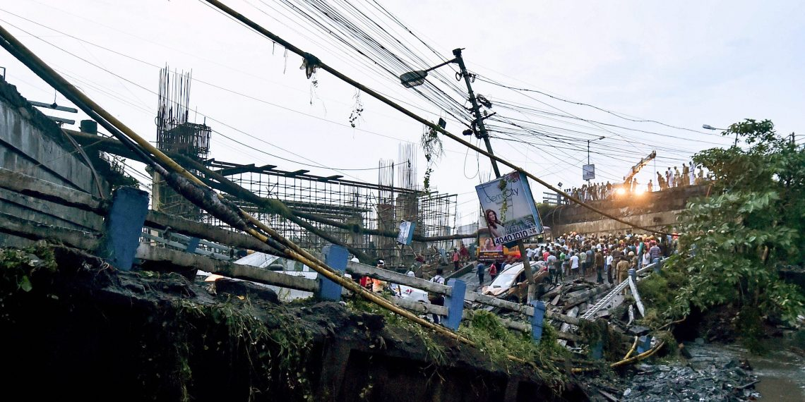 Majerhat tragedy: A section of Majerhat bridge that collapsed in south Kolkata, Tuesday