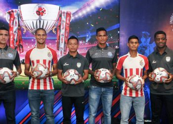 (L to R) JFC player Tim Cahill, ATK player Gerson Vieira, NEUFC player Redeem Tlang, JFC player Subrata Paul, ATK player Eugenson Lyngdoh and NEUFC player Bartholomew Ogbeche pose during a press conference for the upcoming ISL in Kolkata, Saturday