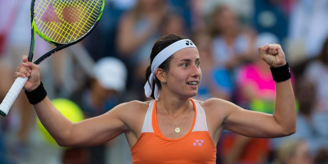 Anastasija Sevastova reacts after winning the match
