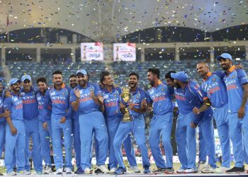 India players celebrate after winning the seventh Asia Cup title in Dubai, Friday
