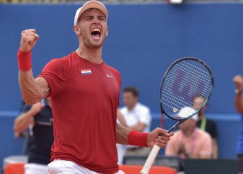 Crotia's Borna Coric is all pumped up after winning his match against Frances Tiafoe of the US