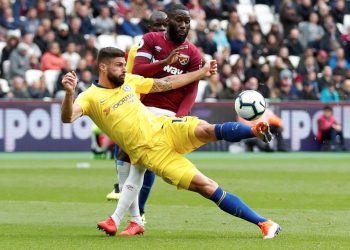 Olivier Giroud in action against West Ham United in London, Sunday
