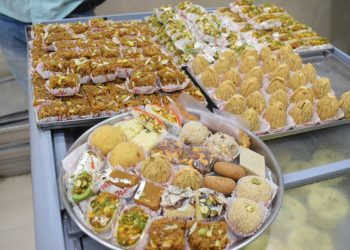 Sweets on display at a shop