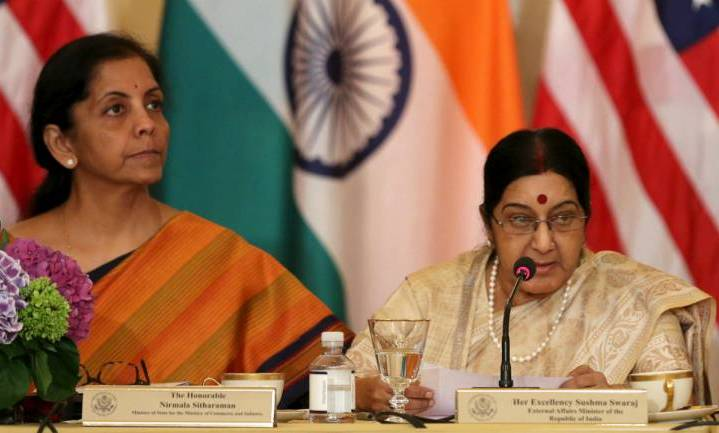 Two-plus-two, Swaraj, Sitharaman hold talks with US counterparts ahead of two-plus-two