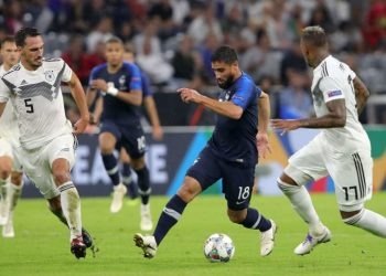 Germany (in white) and France players battle it out during their Nations League encounter