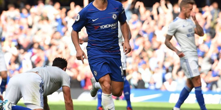 Eden Hazard celebrates after completing his hat-trick against Cardiff City, Saturday