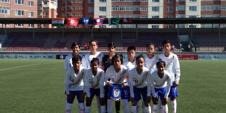 The Indian U-16 women's team players pose for a photograph before their match against Hong Kong, Saturday
