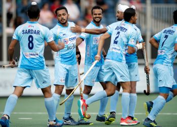 Harmanpreet Singh (2nd from left) celebrates a goal with teammates against Belgium in Champions Trophy