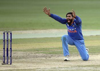 Ravindra Jadeja appeals for a Bangladeshi wicket in Dubai, Friday