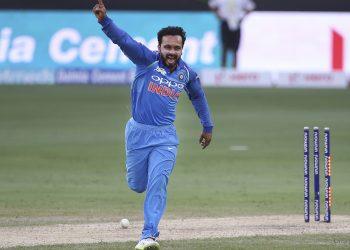 Kedar Jadhav celebrates after dismissing a Pakistani batsman, Wednesday