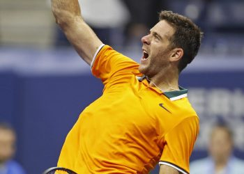Juan Martin del Potro celebrates after defeating Borna Coric at the US Open tennis tournament Sunday