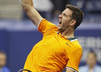 Juan Martin del Potro celebrates after defeating Borna Coric at the US Open tennis tournament Sunday