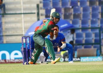 Imrul Kayes shapes to drive against Afghanistan in Abu Dhabi, Sunday