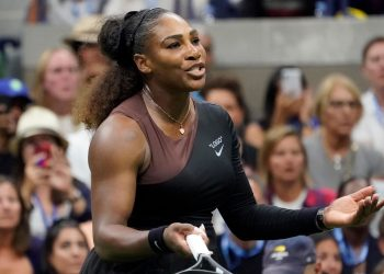 Serena Williams reacts during her US Open final match against Naomi Osaka