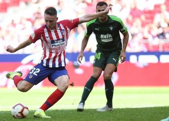 Atletico Madrid debutant Borja Garces about to strike the ball during their match against Eibar, Saturday