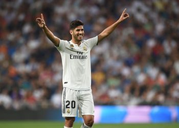 Marco Asensio celebrates after scoring for Real Madrid against Espanyol