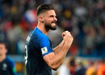 Olivier Giroud celebrates after scoring against the Netherlands