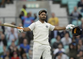 Rishabh Pant celebrates his maiden Test century against England at the Oval cricket ground in London