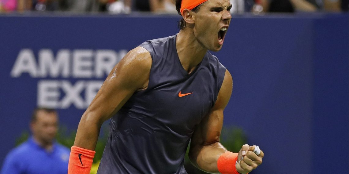 Rafa Nadal eggs himself on after winning a point against Dominic Thiem at Flushing Meadows, Tuesday