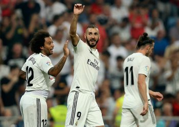 Real Madrid's Karim Benzema celebrates after scoring against Leganes at Santiago Bernabeu, Saturday