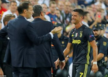 A tearful Cristiano Ronaldo leaves the pitch after being red-carded in his Champions League debut for Juventus