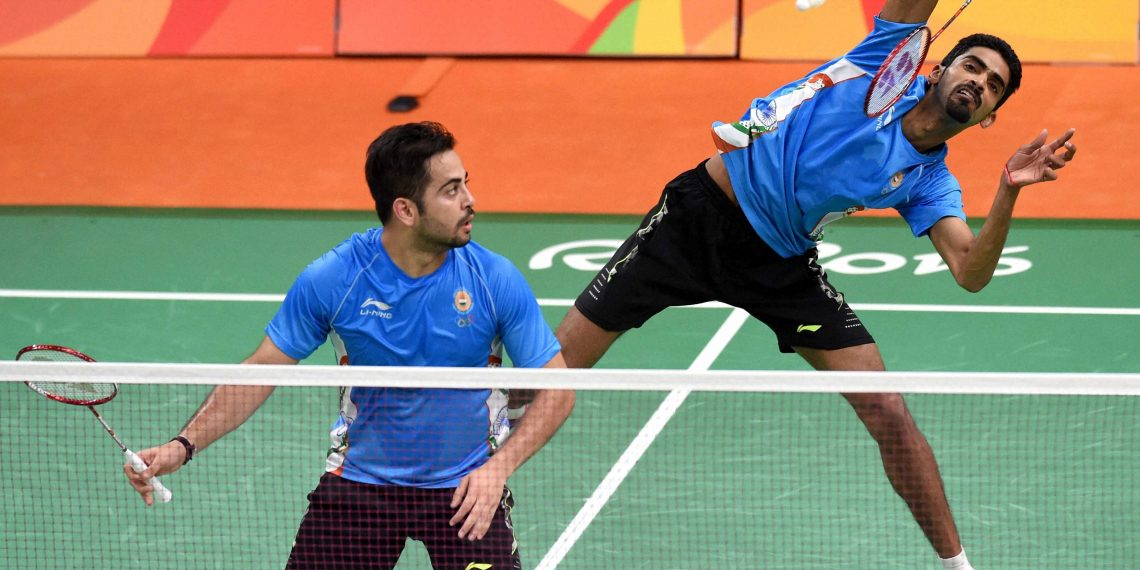 B Sumeeth Reddy (close to the net) and Manu Attri sprung a huge surprise defeating Olympic silver medallists at Tokyo, Wednesday