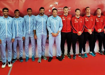Indian and Serbian tennis players pose for photos ahead of India vs Serbia World Group Play-off during David Cup, in Kraljevo
