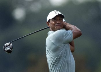 Tiger Woods in action Thursday at the BMW golf championships in Philadelphia
