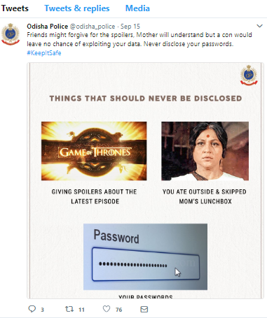 The meme issued by Odisha Police