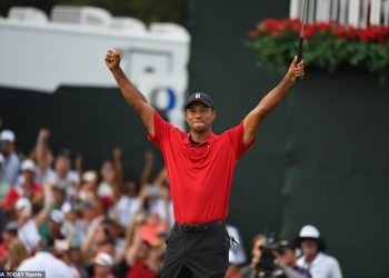 Tiger Woods celebrates on the 18th green after winning the Tour Championship golf tournament in Atlanta, Sunday