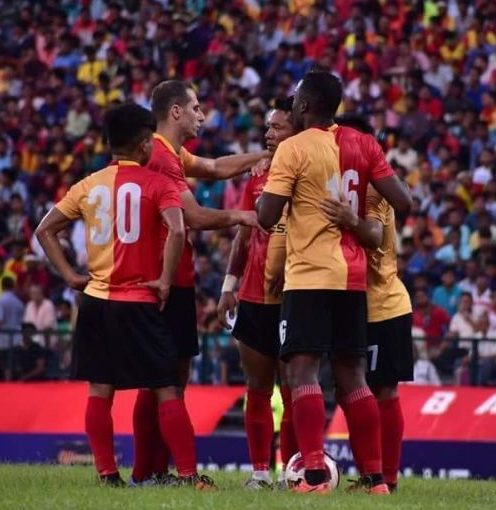 East Bengal players celebrate one of their goals against Mohun Bagan, Sunday